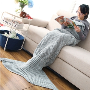 Mixture Crocheted / Knited Mermaid Tail Blanket  -  Gray