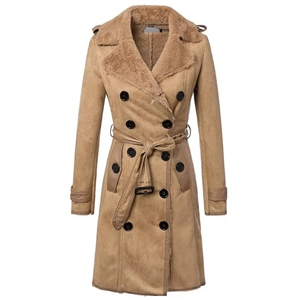 Khaki Double Breasted Self Tie Coat