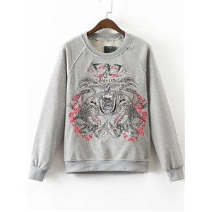 Grey Embroidery Raglan Sleeve Sweatshirt