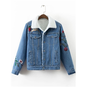 Blue Floral Embroidery Denim Jacket With Faux Shearling Lining