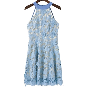 Blue Open Back Crochet Lace Overlay Dress