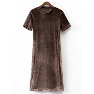 Coffee Mock Neck Short Sleeve Velvet Dress