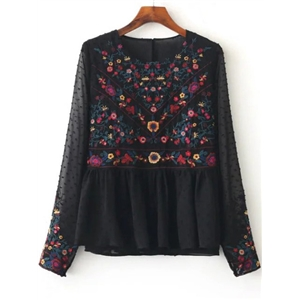 Black Floral Embroidery Mesh Blouse