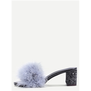 Grey Feather Furry Slides Heeled Slippers
