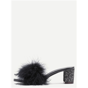 Black Feather Furry Slides Heeled Slippers