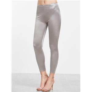 Light Grey Satin Skinny Leggings
