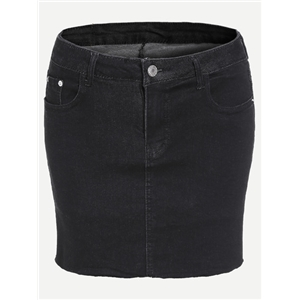 Black Denim Bodycon Skirt With Pocket