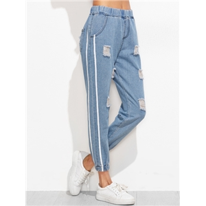 Blue Elastic Waist Striped Side Ripped Beam Port Jeans