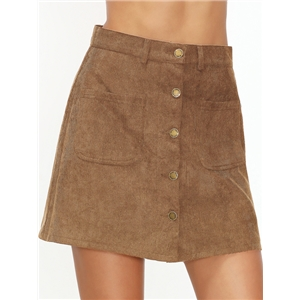 Khaki Single Breasted Corduroy Pocket Front A Line Skirt