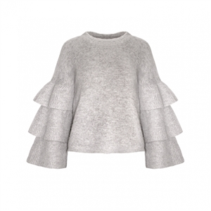 GREY RUFFLED SLEEVE SWEATER