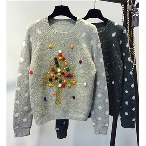 Green-polka-dot-pom-pom-christmas-tree-sweater