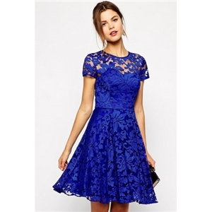 WithChic Royal Blue Lace Cut Out Skater Dress
