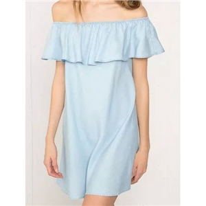 WithChic Blue Off Shoulder Ruffle Denim Shift Dress
