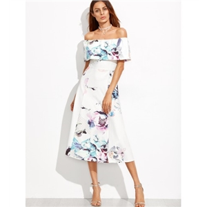 Off The Shoulder Floral A-Line Dress