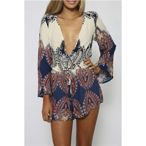 Fashion Women Drawstring Plunge 3/4 Sleeve Tribal Print Shorts Rompers