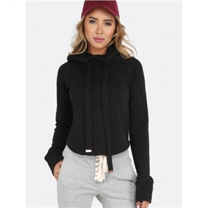 Cropped Pocketless Hoodie BLACK