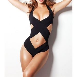 WithChic Black Cut-Outs Push Up Halter Monokini Swimwear
