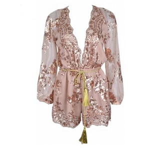 Gold Sequin Plunging V-neck Long Sleeves Playsuit