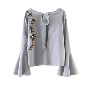 Cut Out Flare Sleeve Floral Tied Blouse