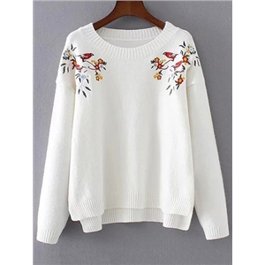 Embroidered High-Low Sweater