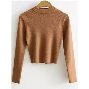Mock Neck Cropped Pullover Sweater