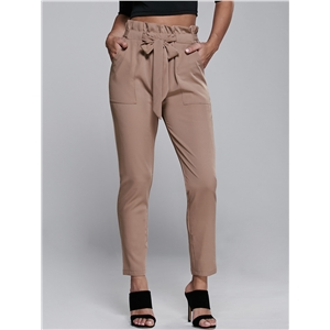 High Waisted Belted Narrow Feet Pants