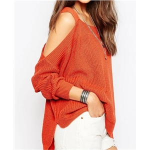 Loose rib knit a female sweater