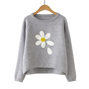 Grey Flower Print Raglan Sleeve Dip Hem Sweater