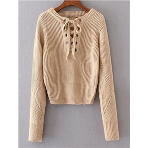 Round Neck Lace Up Jumper