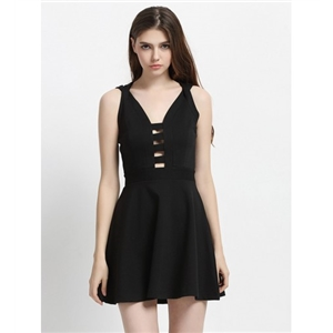 Black V-neck Lattice Detail Cross Back Cami A-line Dress