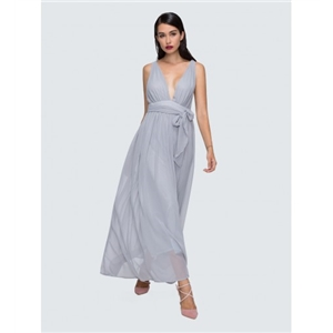 Gray Halter Plunged Font Tie Waist Ruched Maxi Dress