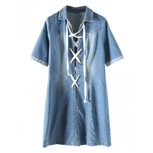 Blue Lace Up Front Pointed Collar A-line Denim Dress