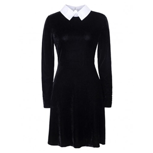 Black Contrast Collar Keyhole Back Long Sleeve Velvet Skater Dress