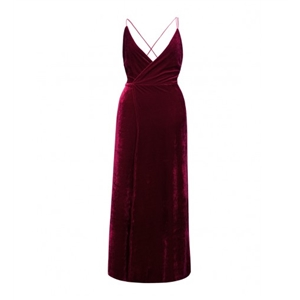 Burgundy Wrap V-neck Split Front Backless Velvet Maxi Dress
