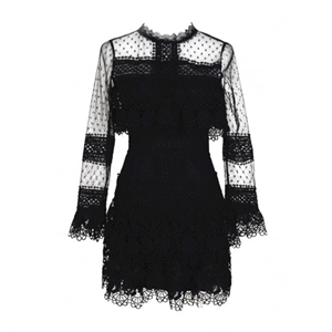 Black Sheer Panel Lace Overlay Scallop Trim Dress