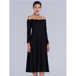 Black Off Shoulder Long Sleeve Midi Dress