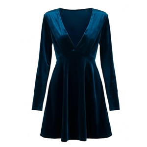 Blue Plunge V-neck Long Sleeve Velvet Skater Dress