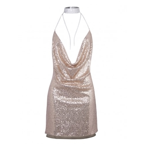 Golden Cowl Front Open Back Split Side Sequined Bodycon Dress