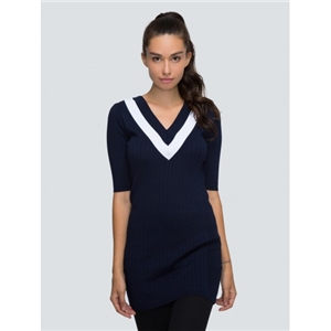 Navy Contrast Striped V-neck Half Sleeve Knitted Dres