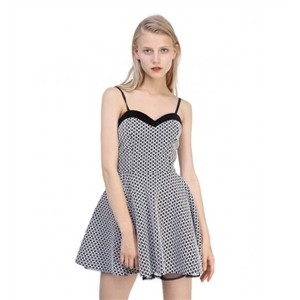 Monochrome Sweetheart Geo Jacquard Cami Skater Dress