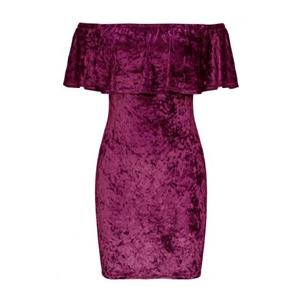 Purple Off Shoulder Ruffle Velvet Bodycon Dress