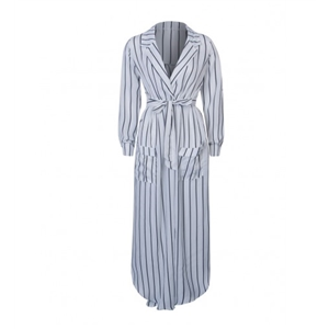 White Stripe Lapel Roll-up Sleeve Side Split Maxi Dress
