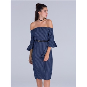 Blue Off Shoulder Stripe Ruffle Sleeve Front Split Midi Dress
