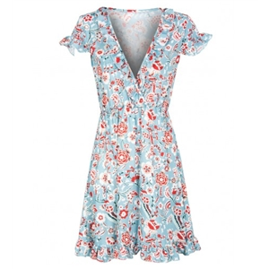 Multicolor V-beck Floral Ruffle Hem Dress