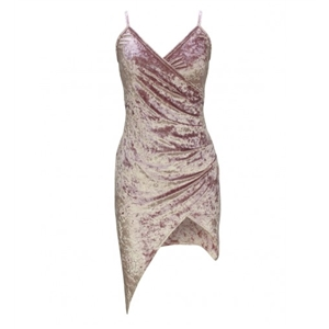 Pink Wrap Front Ruched Detail Asymmetric Hem Velvet Cami Dress
