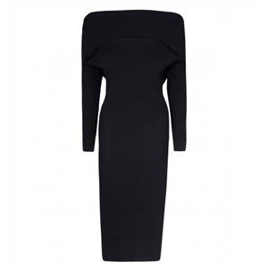 Black Off Shoulder Long Sleeve Knitted Bodycon Dress