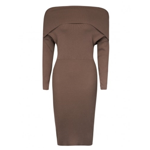 Brown Off Shoulder Long Sleeve Knitted Bodycon Dress