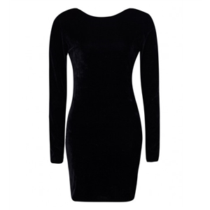 Black Backless Long Sleeve Velvet Bodycon Dress