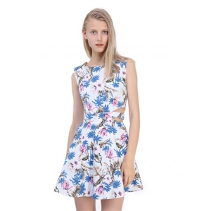 White Tropical Floral Print Cut Out Waist Skater Dress