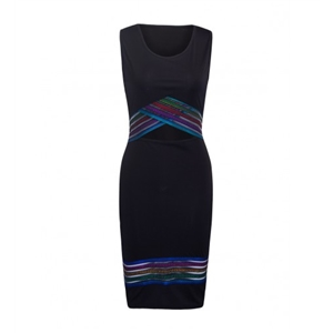 Black Contrast Strappy Detail Open Belly Bodycon Dress
